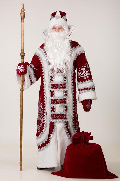 Костюм Деда Мороза Купеческий Бордовый купить недорого