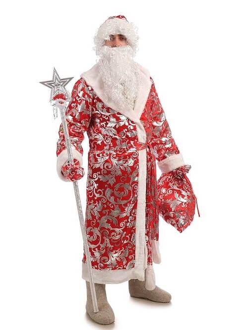 Костюм Деда Мороза Блестящий вид  спереди